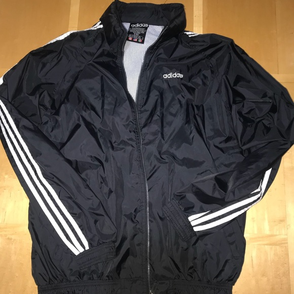 Vintage Adidas Hooded Windbreaker Black & White